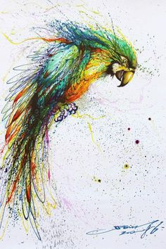 Expressive parrot by Chinese artist Hua Tunan.