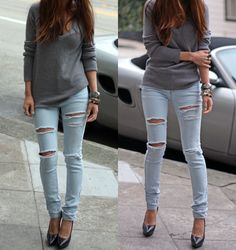 ripped jeans, heals and a sweat t, simple yet amazing