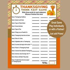 Thanksgiving Trivia Game Think Fast Game Thanksgiving | Etsy