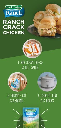 Four ingredients and a slow cooker are all you need to make Ranch Crack Chicken. Combine chicken breasts, cream cheese, hot sauce and Hidden Valley Original Ranch Seasoning & Dressing Mix, cook on low and wait for the magic to happen. Serve on rolls for a Slow Cooker Recipes, Low Carb Recipes, Crockpot Recipes, Chicken Recipes, Cooking Recipes, Crack Chicken, Crock Pot Cooking, Oven Cooking, Food Cakes