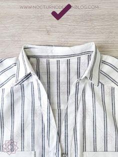 Cómo coser un cuello camisero en 8 pasos – Nocturno Design Blog Design Blog, Casual Shorts, Shirt Dress, Detail, Sewing, Lady, Mens Tops, Pants, Shirts
