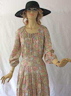 Vintage 70s Boho Dress Cotton Floral Print Hippie Dress w Tiered Full skirt. $38.00, via Etsy.