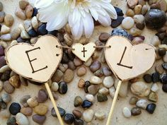 Wood Heart Cake Toppers with Carved Initials - Perfect Banner for Weddings Engagement or Anniversary Parties Rustic Cottage Chic 3PC set on Etsy, $34.50 AUD