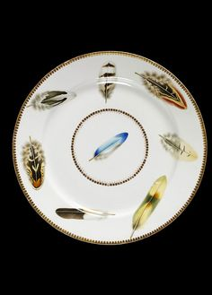 Feather Motif Plate, Worcester, England (made), ca. 1820 - Porcelain painted in enamels and gilded. Ceramic Plates, Porcelain Ceramics, China Porcelain, Decorative Plates, Porcelain Doll, Painted Porcelain, Hand Painted, China Plates, Plates And Bowls