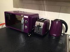 Image result for purple stove Kettle And Toaster, Weber Bbq, Kitchen Styling, Travel Size Products, Home Deco, Stove, Microwave, Kitchen Appliances, Purple