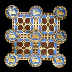 Tile mosaic designed by A.W.N. Pugin  Made by Minton & Co., Stoke-on-Trent, England, AD 1845  From the floor of St George's Cathedral, Southwark