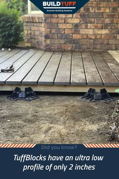 TuffBlocks have an ultra low profile of only 2 inchs from the ground to the base where the joist or post sits. This makes it perfect for low level decks, and especially useful when you can't dig if you're building on concrete, pavers, or have services running beneath your site. In this photo, you'll see TuffBlocks combined with 2.7inch thick joists and 1 inch boards for a total height of only 5.7 inches! Concrete Deck Blocks, Concrete Pavers, Deck Foundation, Easy Deck, Digging Holes, Raised Deck, Make Build, Cubby Houses