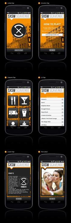 SXSW Scavenge by Lee Riley, via Behance *** SXSW Scavenge is a fun app created by a group of students at Boulder Digital Works that will guide you to all the best people, places and events in Austin. Scavenge SXSW to find these must-see SXTHINGS. Take a photo to document your find.