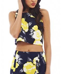 Loving this Yellow Floral Crop Top on #zulily! #zulilyfinds