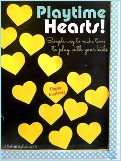 How to spend time with your kids. Playtime Hearts. An easy and fun way to make time for play.