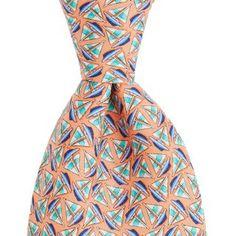 Vineyard Vines Mens Printed Tie - Sailboat Geo - Peach