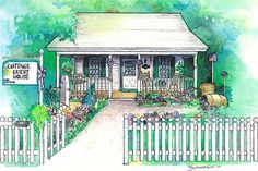 Custom watercolor of Cottage Guest House Bed and Breakfast