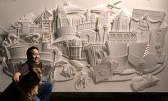 Jeff Nishinaka carves and pinches paper to create intricate paper sculptures.