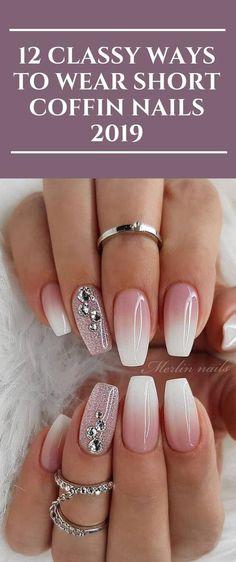 12 Classy Ways to Wear Short Coffin Nails 2019 - Short acrylic nails coffin - Acrylic Nails Coffin Classy, Coffin Shape Nails, Classy Nails, Nails Shape, Elegant Nails, Nail Art Designs, Classy Nail Designs, Short Nail Designs, Nails Design