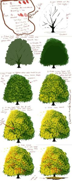 Digital painting tutorial - How to paint a tree Digital Painting Tutorials, Digital Art Tutorial, Painting Tools, Art Tutorials, Painting & Drawing, Drawing Tutorials, Digital Paintings, Matte Painting, Acrylic Painting Tips