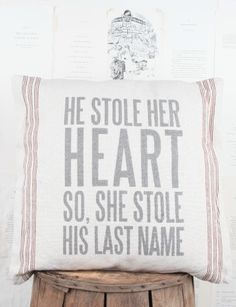 He Stole Her Heart Pillow- Cute wedding or newly wed decoration! Accent Pillows, Throw Pillows, Heart Pillow, Pillow Talk, Love Amor, Joss And Main, Here Comes The Bride, Love And Marriage, Happily Ever After