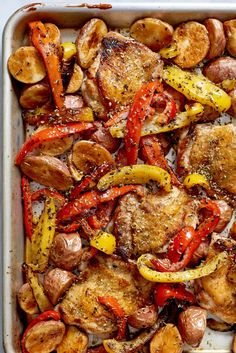 This easy chicken dinner calls for a sheet pan. Chicken souvlaki is a recipe that uses many of the spices that are simply lounging around in your kitchen cabinets. To make this easy recipe, you'll need boneless skin-on chicken thighs, red potatoes, freshly squeezed lemon juice, olive oil, dried oregano, basil and garlic.