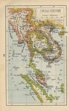 1942 Indo-China vintage map