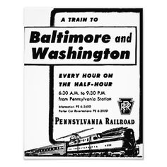 "Pennsylvania Railroad Hourly Trains 1948 Kodak Photograph $11.95 -11""X14""- Pennsylvania Railroad hourly trains, on the half hour, from Pennsylvania Station New York. Trains are pulled by GG-1 Electric Locomotives south to Baltimore and Washington D.C."