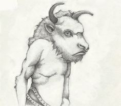"Laura Stanziola, ""Minotaur,"" drawing for the new journal, ""Paradise Lost,"" 2016."
