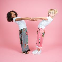 Wear these girls stripe floral trousers rolled up and down with sandals or trainers. We love this outfit. Floral Stripe, Creative Kids, Stylish Dresses, These Girls, Cool T Shirts, Little Ones, Trainers, Girl Outfits, Shapes
