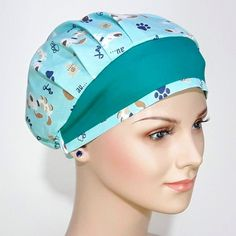 Scrub Hat Patterns, Hat Patterns To Sew, Turban Headbands, Diy Headband, Sewing Lessons, Sewing Hacks, Shabby Fabrics, Hair Cover, Scrub Hats