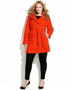 MICHAEL Michael Kors Plus Size Double-Breasted Belted Trench Coat - Plus Size Coats - Plus Sizes - Macy's
