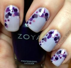 Purple bubble nails, super cute but would be cuter in pink.