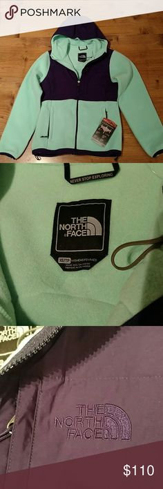 The North Face Jacket Bluish seafoam and purple in color. Very nice. NWT, never worn. Great for all year round. Thanks for looking!! The North Face Jackets & Coats