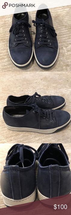 Lanvin MENS sneakers Navy blue leather sneakers in good condition . Signs of wear . Lanvin Shoes Sneakers