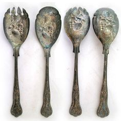 *SOLD* Antique Vintage SHEFFIELD ENGLAND SILVER Plate SILVERPLATE SPOON FORK SPORK SET $1 SORRY SOLD ... we sell more VINTAGE SILVER PLATED KITCHEN HOME DECORS at http://www.TropicalFeel.com