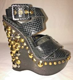 LOUIS VUITTON EMBELLISHED WEDGE BLACK SNAKE SANDAL RESORT 2012 WOMEN'S 37  | eBay