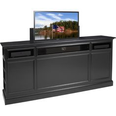 "Suite 82"" TV Lift Cabinet in Black #dynamichome #tvstand #tvlift #transitionalstyle #livingroom #bedroomideas #interiors #interiordesign #black #mediastorage #cabinet"