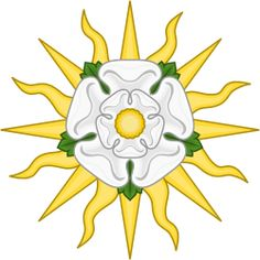 White Rose of York with Sunrays or Rose en Soleil
