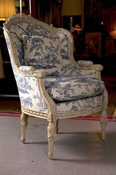 View this item and discover similar wingback chairs for sale at - An exceptional-quality antique French Louis XVI style wingback bergere chair, dated from the late to early century, the original off-white distress antiques furniture Victorian Furniture, French Furniture, Shabby Chic Furniture, Modern Furniture, Furniture Design, Vintage Furniture, Furniture Decor, Outdoor Furniture, Bergere Chair