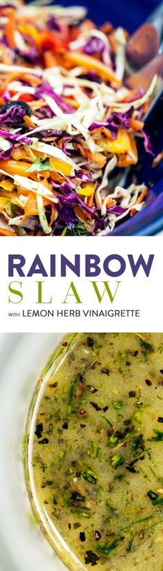 Build yourself a colourful, nourishing bowl of crunchy slaw. The delicious lemon-herb vinaigrette will transform a handful of humble vegetables into a satisfying and nutritious dish! Vegan & Gluten Free.