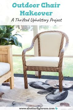 Learn how to refinish an outdoor chair with this quick furniture before and after. Includes upholstery and how to recover piping! #upholstery #furniture Diy Furniture Flip, Thrift Store Furniture, Diy Furniture Projects, Home Projects, Chair Makeover, Furniture Makeover, Butterfly House, Outdoor Chairs, Outdoor Spaces