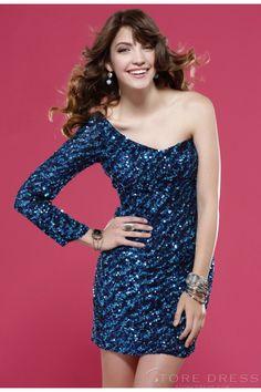 Sparkly Sheath/Column One-shoulder Sequins Cocktail Dress