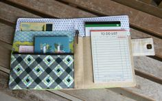 Constance Organizer Tutorial by Heidi Staples of Fabric Mutt -- add zipper pocket & business card holder