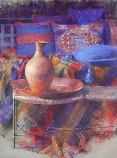 Textiles, pastel by Claude Texier. I love her use of color and mastery of the medium. I believe she uses mostly Girault pastels.