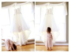 Wedding gown + the flower girl. Cute shot idea!   Frozen Exposure Photography