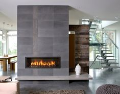 Magnificent Gas Fireplace decorating ideas for Fair Living Room Contemporary design ideas with brown shag rug contemporary Fireplace glass stair railing gray stone fireplace horizontal