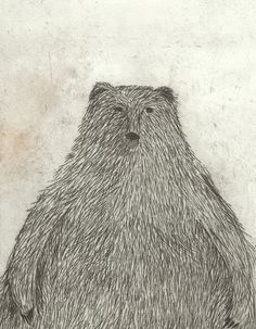 Podría montar un bosque de papel y tinta con la de dibujitos que me gustan...  Black Bear by krisblues on Etsy, $20.00