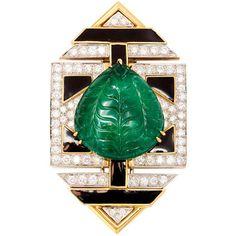 DAVID WEBB Mughal Emerald & Diamond Pendant Brooch