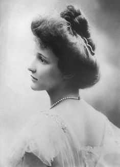 Nancy Astor, 1908, wife of millionaire John Jacob Astor. They had been on an extended honeymoon in Egypt and Paris, and in the spring of 1912, decided to return to America as First Class passengers on board the brand new Titanic. Nancy Astor was pregnant.