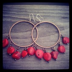 Red Coral Copper Hoops