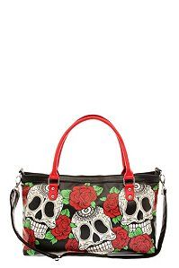 """Folter - Rose Sugar Skull Handbag  Red roses and three sugar skulls are printed on the front of a black handbag with double red straps and a handy back zip compartment. Convertible shoulder strap.  16 1/2"""" x 9""""  Man-made materials  Imported"""