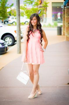 Pink Lace Dress with oxford wedges