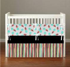 Pineapple Crib Bedding  Nursery Decor 3 Piece Set by flashybaby