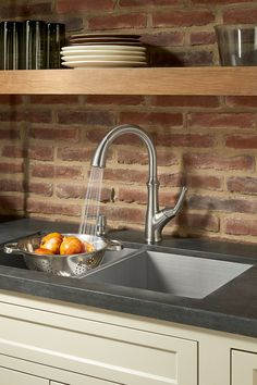 Complement your kitchen with the Tamera Kitchen Faucet. Guaranteed to last, this faucet features a two-function spray head, a matching soap dispenser and a Pforever Seal advanced ceramic disc value that eliminates leaking.